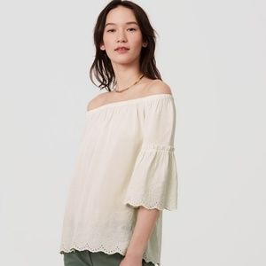 Loft off the shoulder white embroidered top